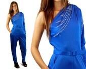 1970s jumpsuit, Fredericks of Hollywood, cobalt blue jumpsuit, one shoulder, silver glitter, Size M