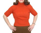 1960s ribbed top, Mad Men, cropped top, orange shirt, turtleneck, cable knit, size S