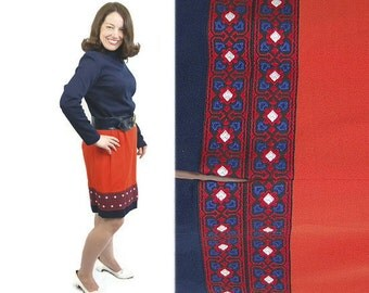 1960s MOD dress, Mad Men, funnel neck, blue orange,color blocked, embroidery, Size M