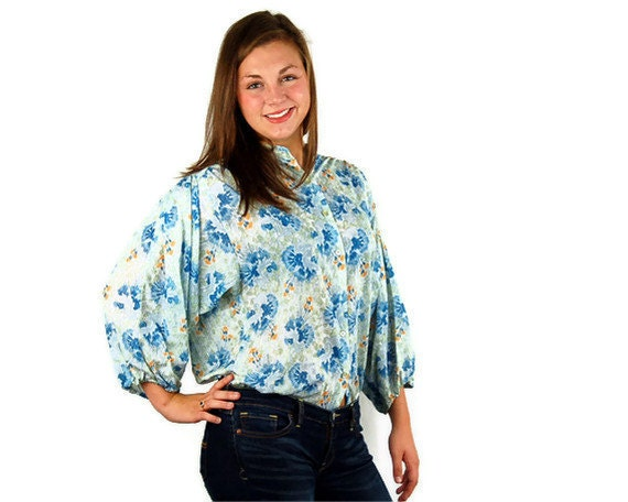 1970s smock top, oversized blouse, artists shirt, blue green, 1970s floral blouse, Size M/L/XL