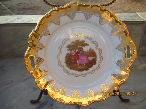 Vintage Stw Bavaria West Germany Gold Porcelain Fragonard