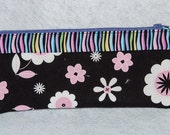 Fabric Zipper Pencil Case/Pink & Black Flowers