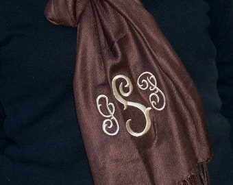 Monogrammed Pashmina Wrap - CHOCOLATE BROWN