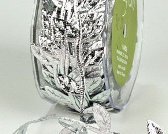 Leaf Ribbon - Silver - 1 inch  - You Choose Yards