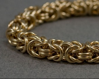 Men's Gold Chain Bracelet 14g Byzantine Chainmaille 14k gold filled Bracelet