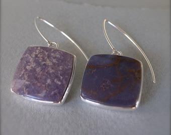 asymmetrical square earrings - burro creek agate - se.bca.166