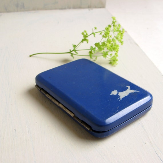 Running Dog Vintage Cigarette Case - royal blue and white
