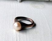 Champagne Golden Cream Pearl Copper Ring June Birthstone Raw Gem Stone Crystal Artisan Handmade