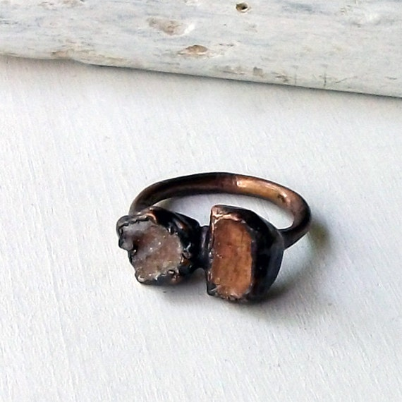 Topaz Copper Ring Druzy Geode Rough Stone Mineral Spice Whiskey Gemstone Natural Raw Patina Artisan