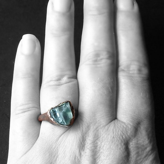 Copper Geode Ring Crystal Gem Stormy Grey Crystal Ice Patina Artisan