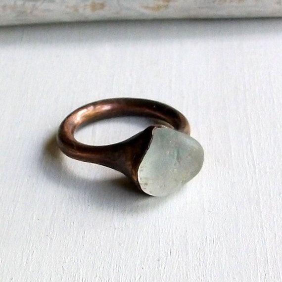 Copper Ring Topaz Crystal Grey Blue Gem Stone Pebble Frosted Natural Raw Patina Artisan Handmade