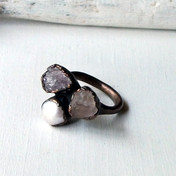 Pearl Spinel Copper Ring Gemstone Lavendar Raw Statement Oxidized Handmade