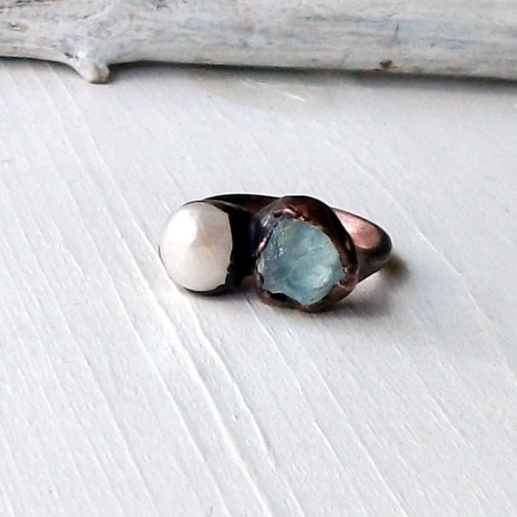 Aquamarine Pearl Copper Ring Pale Blue Cream June March Birthstone Artisan Handmade