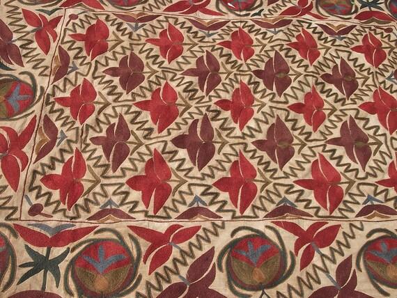 Uzbek Embroidered 6  x 5 ft Bukhara Suzani/ Bed cover/ Wall hanging. Natural tones.