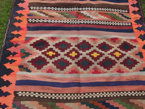 Gorgeous Bright Folky patterned 9 x 3 Wool Rug/Kilim/Carpet Runner. Hand woven. Afghanistan.