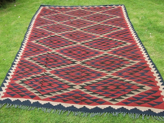 Another Big 9 x 6 Maimana Hand woven Rug/Kilim Carpet from Afghanistan.