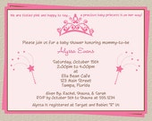 Princess Baby Shower Invitations, Set of 10 Printed Invites with envelopes, Free Shipping