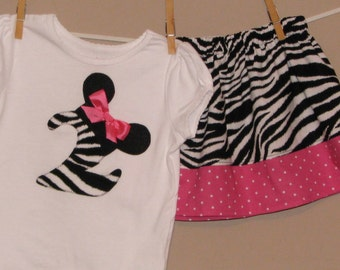 Personalized Disney Inspired Minnie Mouse Outfit - Baby Toddler Girls - Perfect for Disney Trips or Gift - Zebra Pink Dots- Brother shirt
