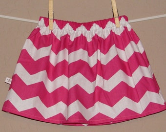 BUY 2 Get 1 FREE- Chunky Pink Chevron Skirt -Baby Toddler Girls Skirt -Hot Pink Chevron -Great for Spring Summer -Matching Top Available
