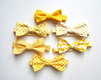 Mens Bow Ties, Mix and Match Yellow Bow Ties, Groomsmen Ties, Wedding Bow Ties, Yellow Bow Ties, Mixed Print Bow Ties, Groomsmen Bow Ties