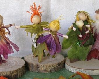 Flower Fairy Doll Family - Dollhouse Family - Parents and Children - set of 6 - Custom order