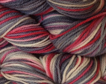 Hand Painted Merino Wool Worsted Weight Yarn in Paper Love Red Beige Gray