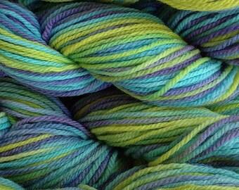 Handpainted Merino Wool Worsted Weight Yarn in Mermaid Cove Aqua Blue Green Purple