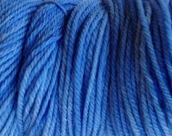 Cowboy Blue Worsted Weight Yarn Hand Dyed Wool Yarn Merino 160 Yards