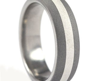 New 6 mm Titanium Ring with Sterling Silver Inlay and Sandblast Finish Made in the USA: 6HR12GSND-SS INLAY