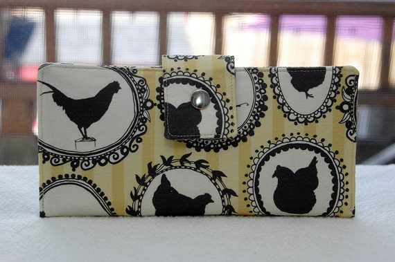 Wallet clutch womens Custom fabric chicken cameos in yellow vegan