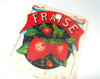 Strawberry Tags -  Set of 4 -  Seed Packet Tag  - Vintage French  Ad  - Fruit Tags - French Berry Tags  - Garden Tags - Thank Yous