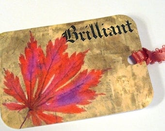 Bright Fall Leaves -  Set of 8 -  Gift Tags - Autumn Tags - Primitive Tags - Thank Yous - Woodland Tags - Nature Tags -  Fall Woodland