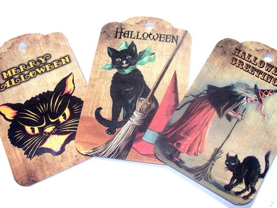 Vintage Look Halloween Gift Tags Set of 8 Black Cats Witches Moon Pumpkins Spooky Fun From The Past