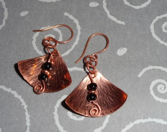 Hammered Copper Earrings with Black Bead Accent