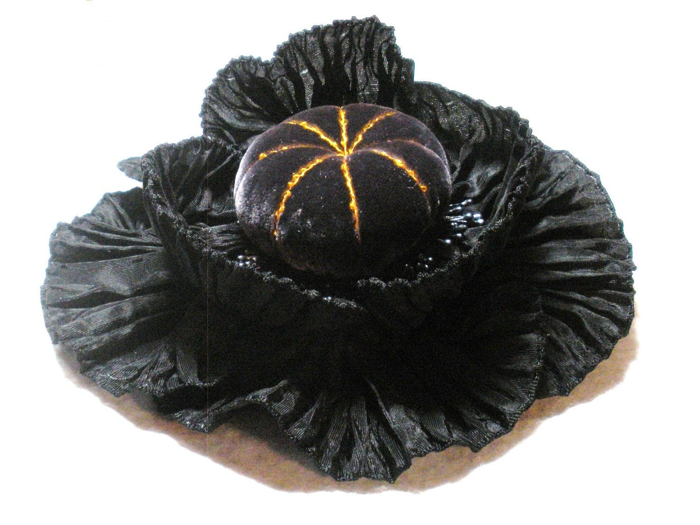 Black Dahlia Ribbon Flower Millinery Applique