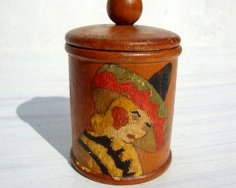 Vintage 30s/40s Wooden Box Hand Painted