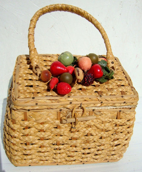 Vintage Basket and Fruit Sewing Box Hand Bag