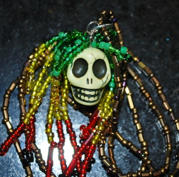 Skull Necklace Green, Yellow and Red - for Dia De Los Muertos or Halloween