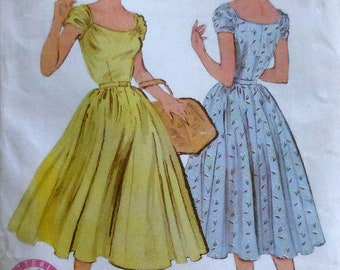 Reproduction Retro 1952 Butterick Mid Calf Dress Sewing Pattern UNCUT Sizes 8-12 Butterick P410
