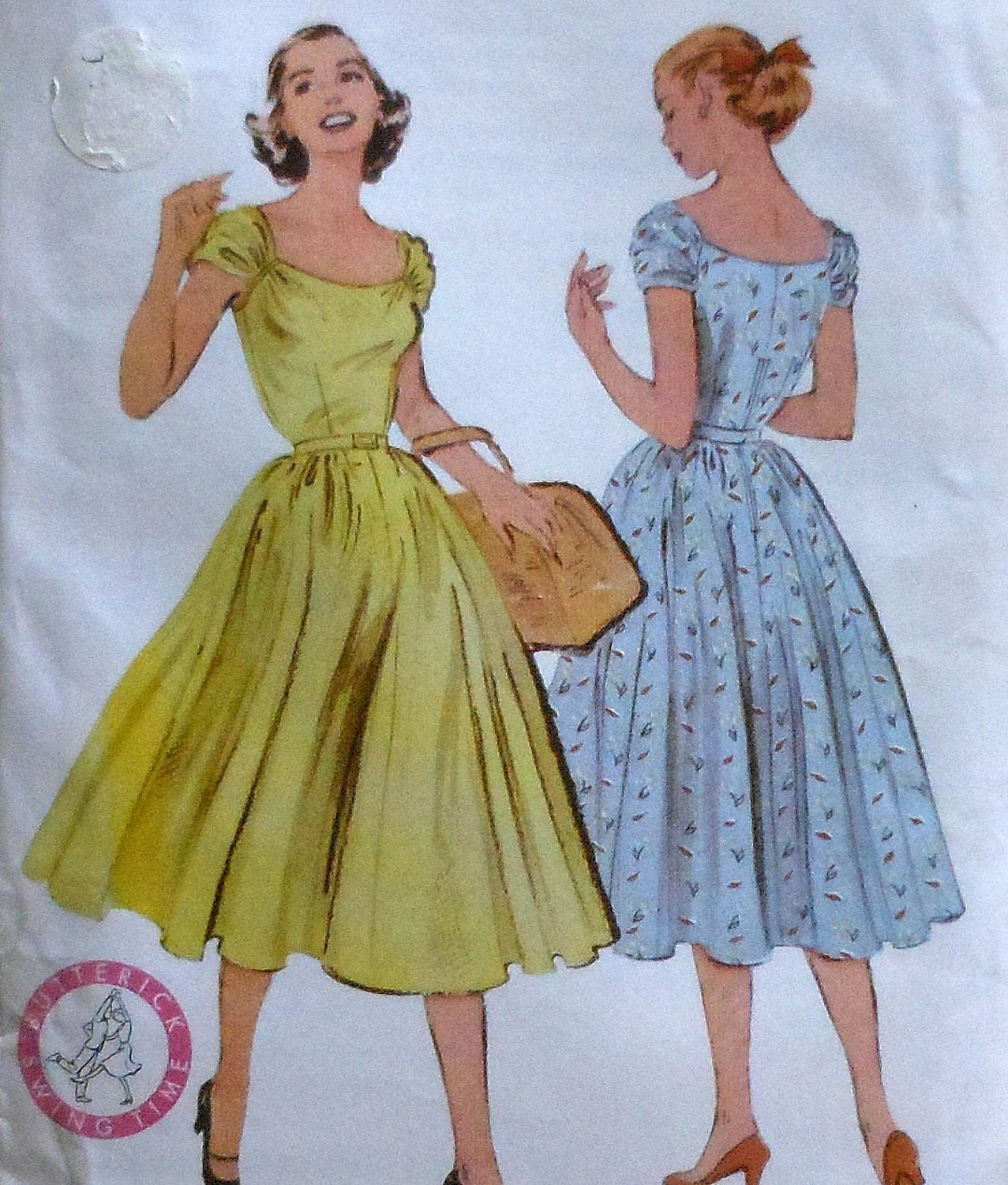 Reproduction Retro 1952 Butterick Mid Calf Dress Sewing