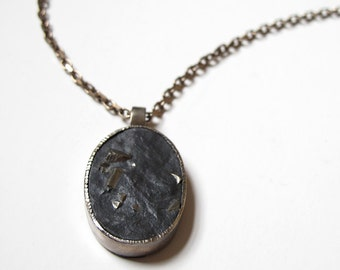 Natural Slate with Pyrite Pendant Oxidized Sterling Silver