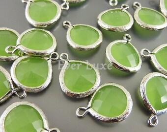2 bezeled 13mm peridot opal green glass pendants, necklace pendants 5064R-PEO-13