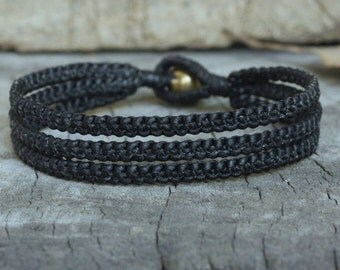 Triple Black Cord Unisex Bracelet