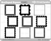Scalloped Square Frames - Personal and Commercial Use - digital clipart frames clip art cute modern label