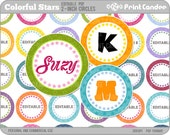 2 Inch Circles - Editable PDF (8x10) - Colorful Stars Digital Collage Sheet (No. 206B) -  Stickers, Buttons, Magnets