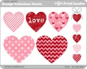 Grunge Valentines Hearts - Digital Clip Art - Personal and Commercial Use - valentines day grunge shabby chic