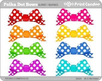 Polka Dot Bows -  Digital Clip Art - Personal and Commercial Use - hair bow circle girly girl sweet