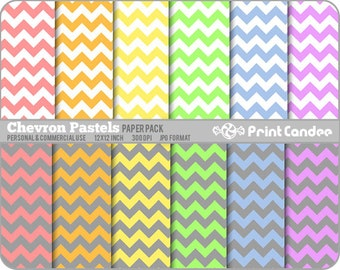 Chevron Pastels Paper Pack (12 Sheets) - Personal and Commercial Use - floral retro mod funky fun