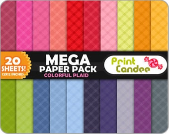Mega Paper Pack (20 Sheets) - Colorful Plaid - Personal and Commercial Use- backgrounds  wallpaper  printable