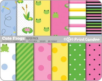 Cute Frogs Paper Pack (12 Sheets) -  Personal and Commercial Use - green white dots colorful stripes
